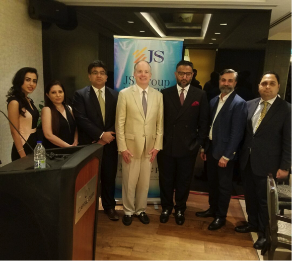 Dubai: John Groarke Mission Director USAID Pakistan with Ali Raza Siddiqui Co Chairman JS Group with Members of People Organization, JS Group and USAID team at an event hosted by JS Group Middle East.